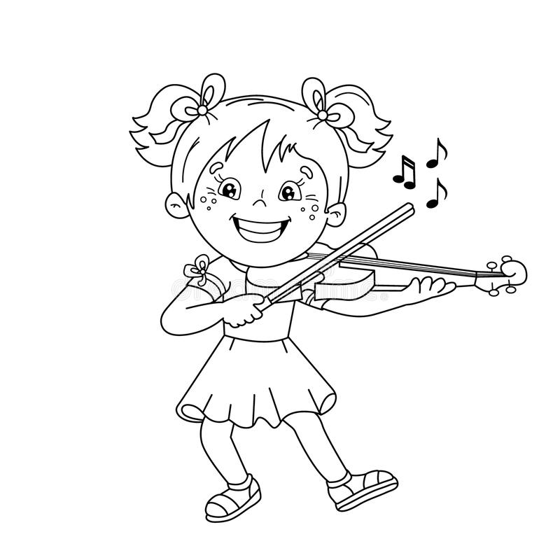 Coloring Page Outline Of Cartoon Girl Playing The Violin