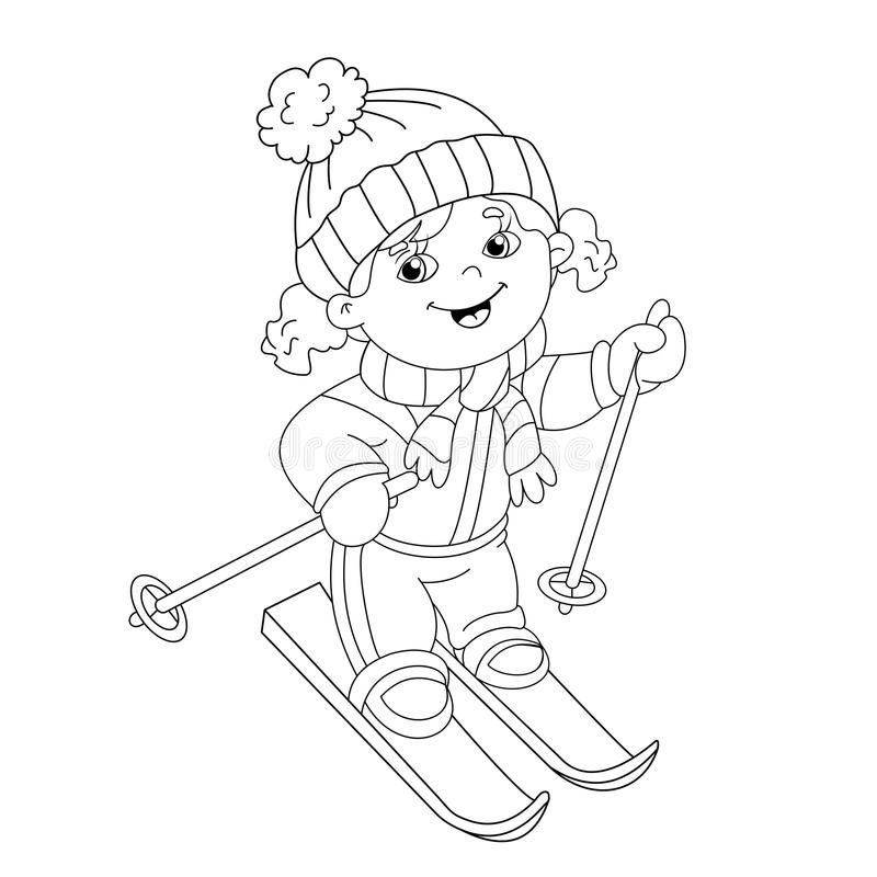 Coloring Page Outline Of Cartoon Girl Riding On Skis Stock