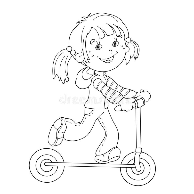 Coloring Page Outline Of Cartoon Girl On The Scooter Stock