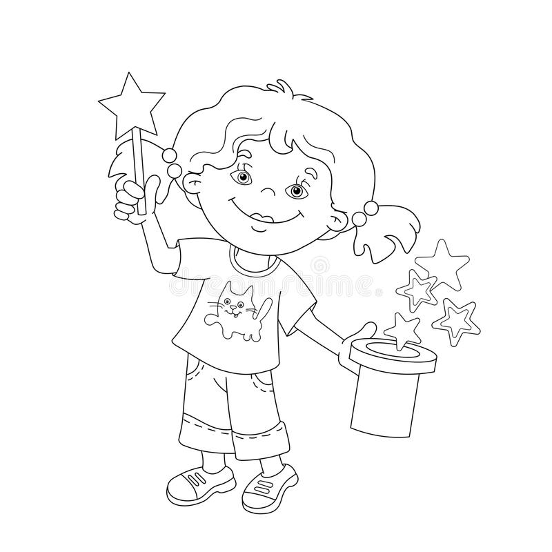 Coloring Page Outline Of Cartoon Girl Showing The Trick