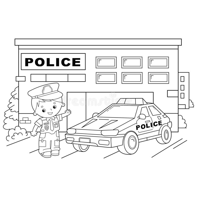 Policeman And Car Driver. Coloring Book Stock Illustration