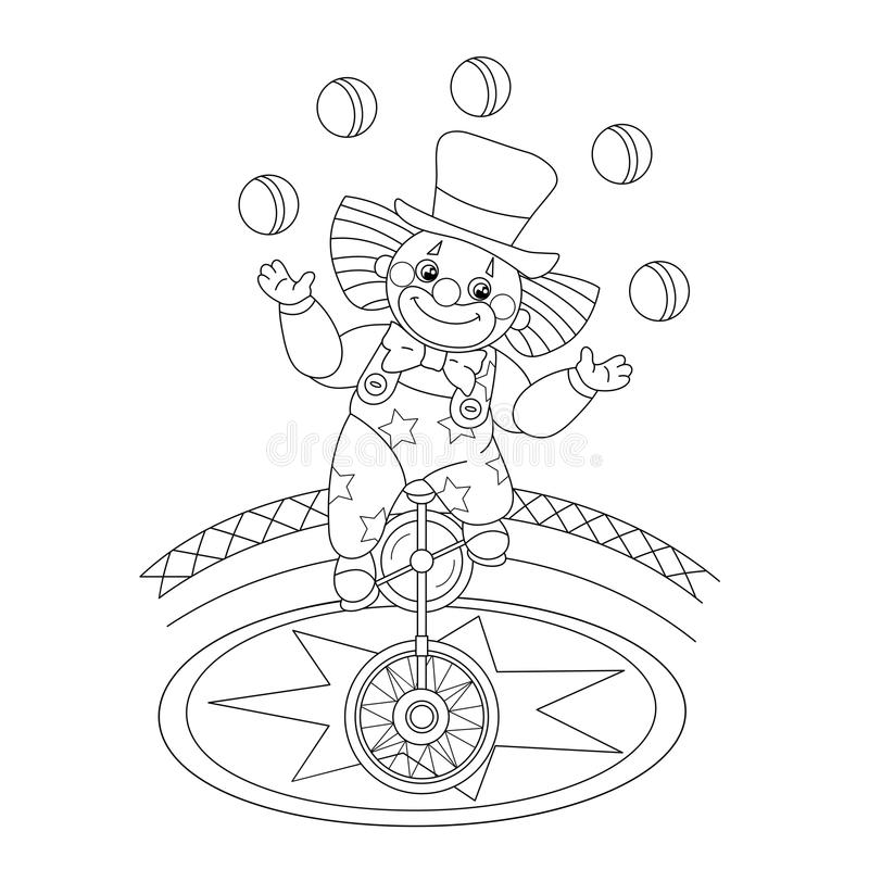 Coloring Page Outline Of A Funny Clown Juggling Balls