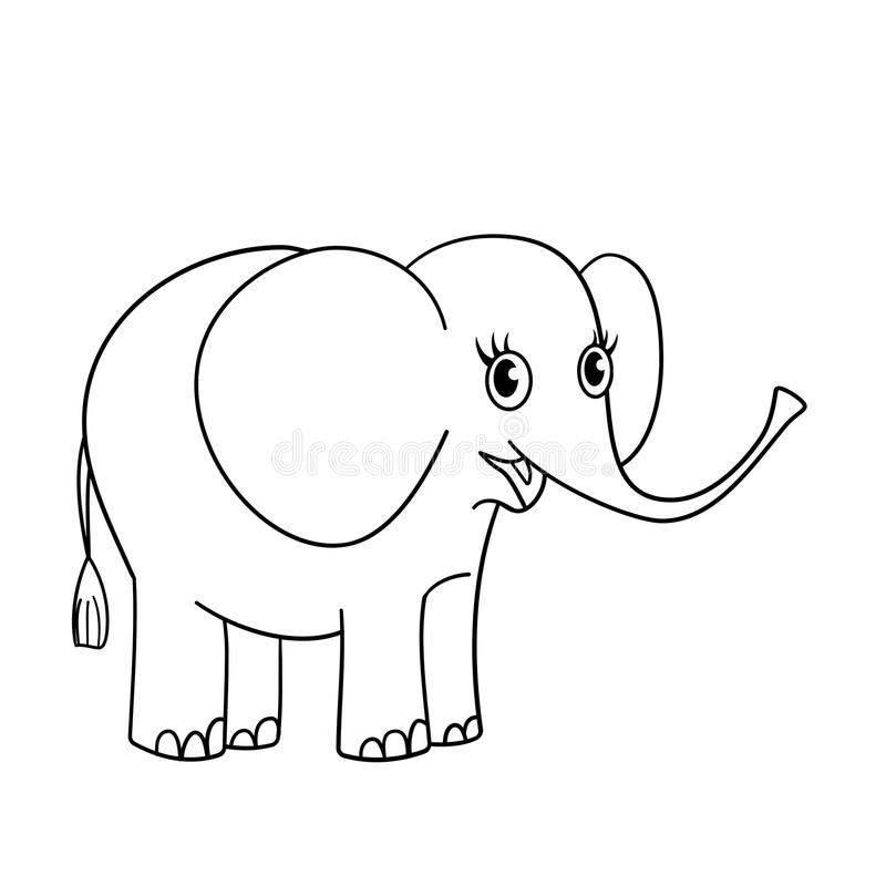 Coloring Page Outline Of Nice Small Elephant Stock Vector