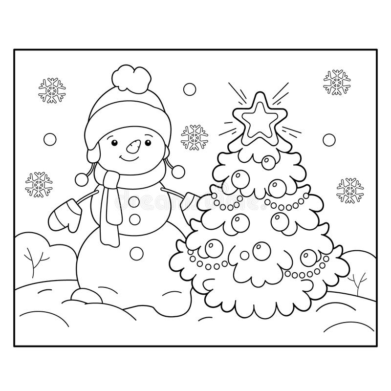 Coloring Page Outline Of Snowman With Christmas Tree Christmas New Year Stock Vector Illustration Of Holidays Decorated 114525535