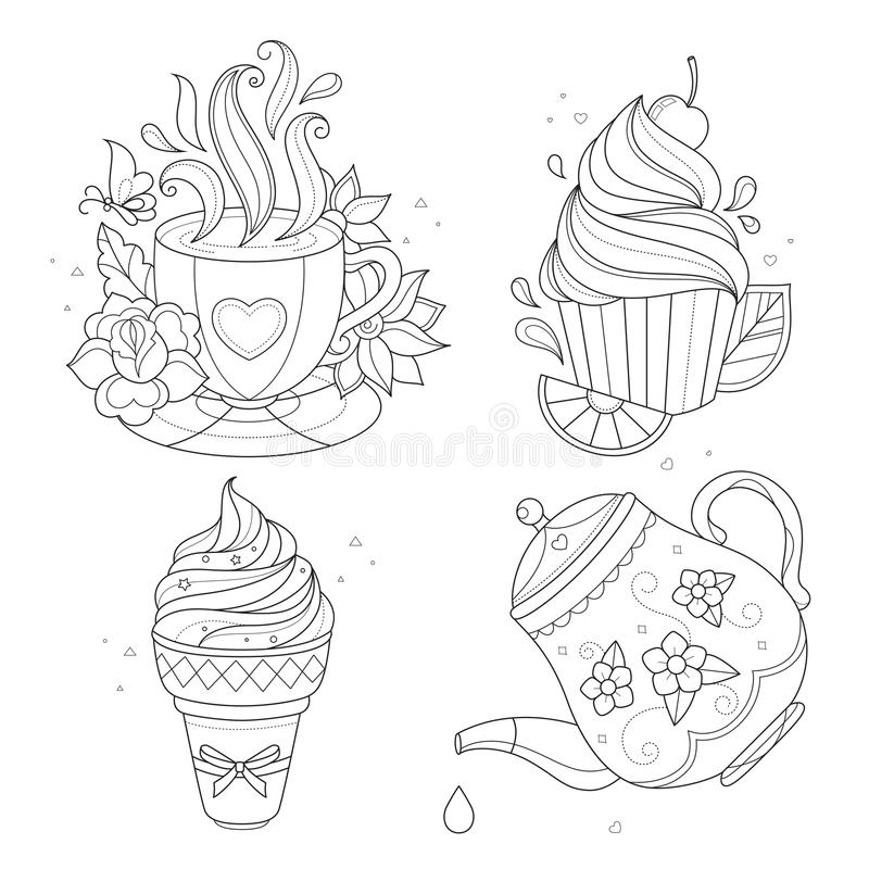Tea Pot And Cup With Fruits, Vector Stock Vector