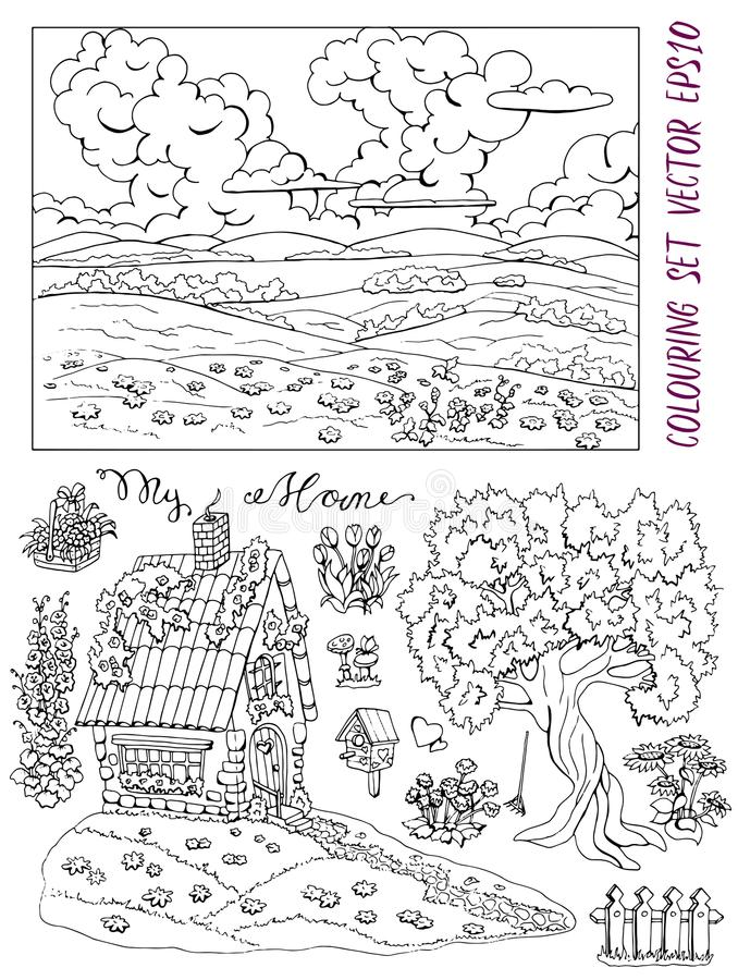Coloring Page With Cute House, Landscape, Conifer, Garden
