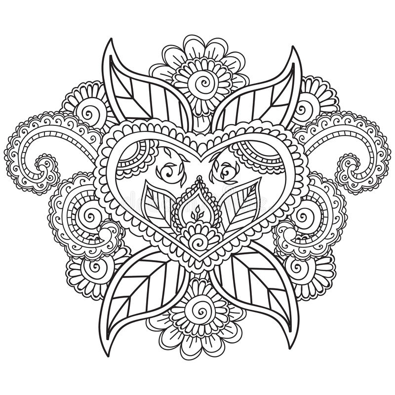 Coloring Pages For Adults. Henna Mehndi Doodles Abstract