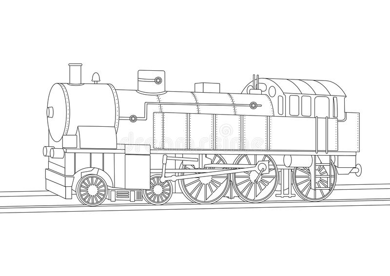 Coloring Book The Train On The Platform. Vector