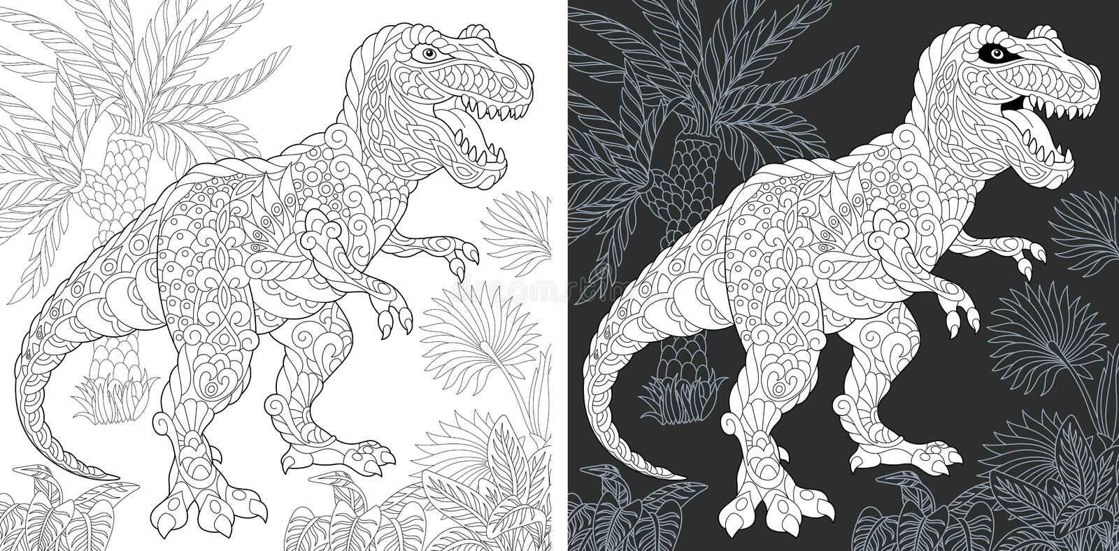 Dinosaur Tyrannosaurus Rex Coloring Pages Stock Illustration Illustration Of Reptilian Cretaceous 35333285