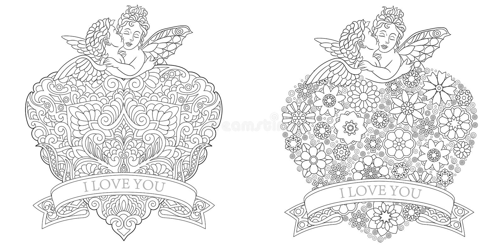 Valentine Day Hearts Set. Coloring Book Page Template