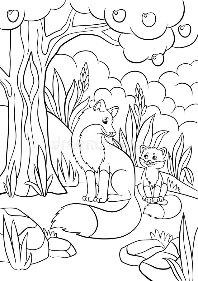 Coloring Pages. Wild Animals. Mother Fox With Her Little
