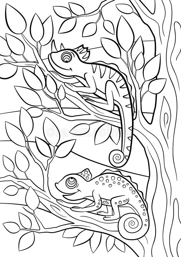 Coloring Pages. Wild Animals. Two Little Cute Chameleon