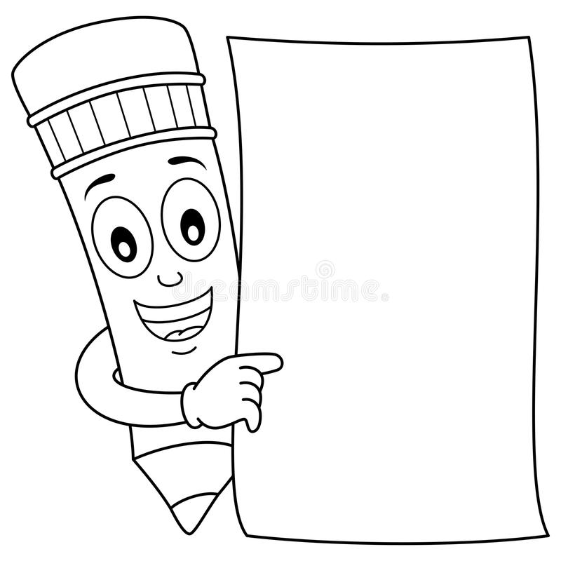 Coloring Pencil Character & Blank Paper Stock Vector