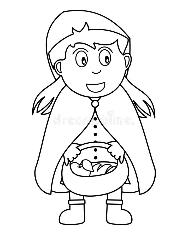 Coloring Red Riding Hood With Food Basket Stock Vector