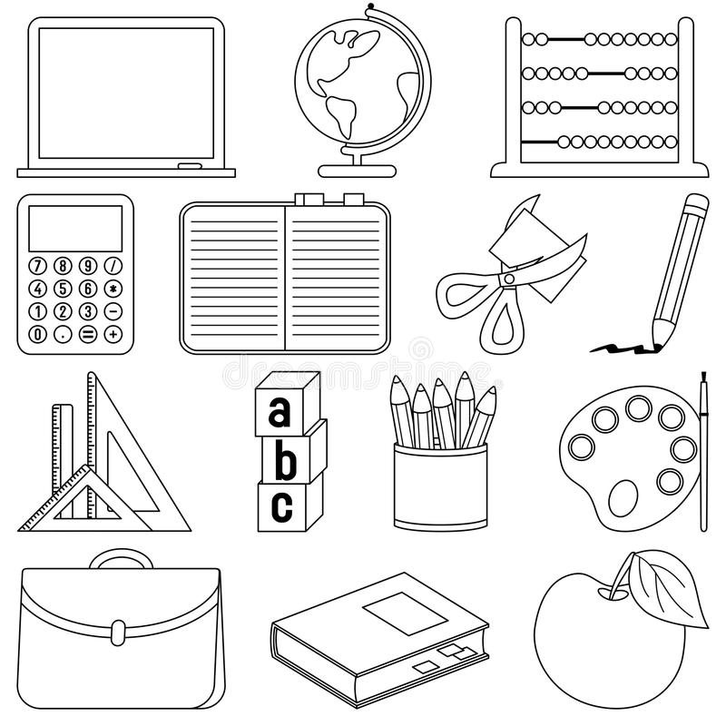 Coloring School Icons stock vector. Image of contour