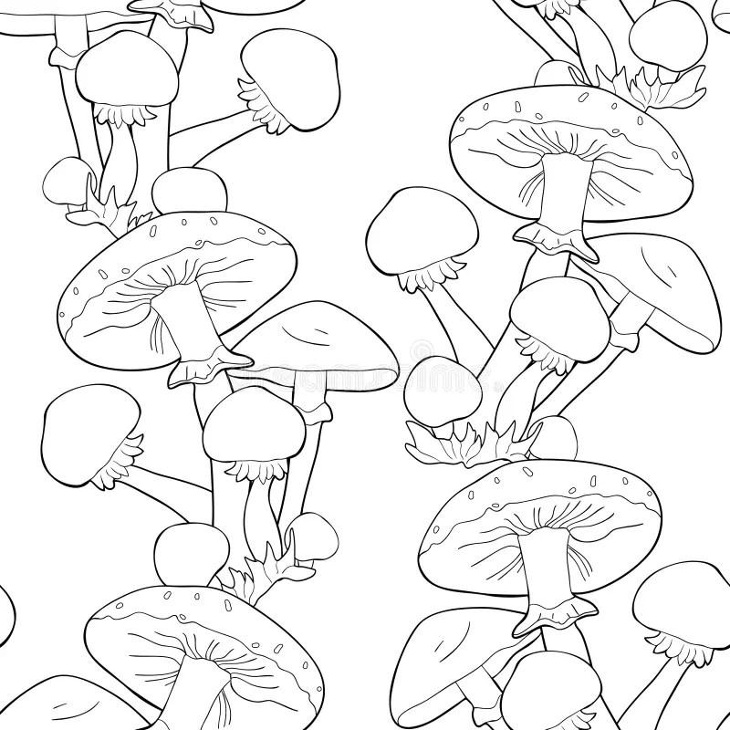 Honey Fungus Pattern Seamless Black Stock Vector
