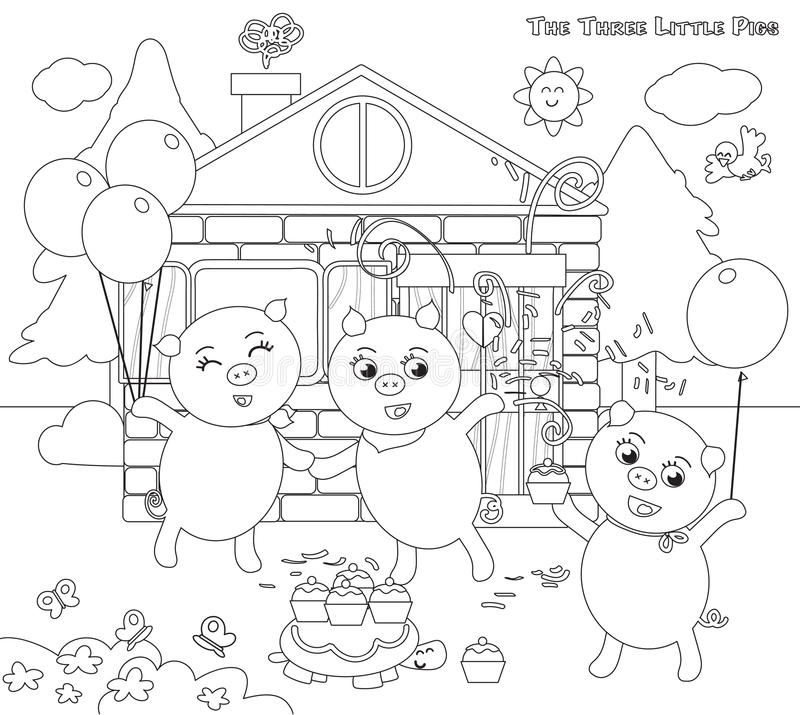 Coloring Three Little Pigs 12: Happy Ending Stock Vector