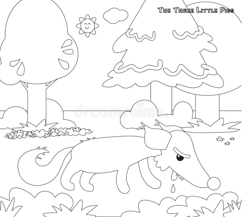 Coloring Three Little Pigs 11: The Hungry Wolf Stock
