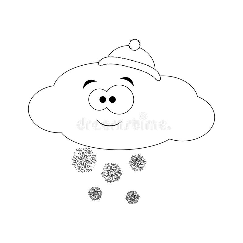 Colorless Funny Cartoon Cloud Blows Wind. Vector