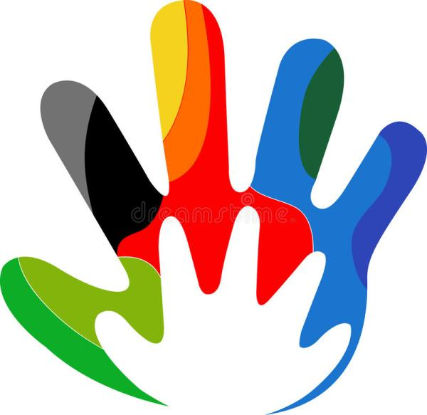 Colourful hand logo stock vector Illustration of company