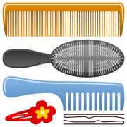 comb and hairbrush set stock vector