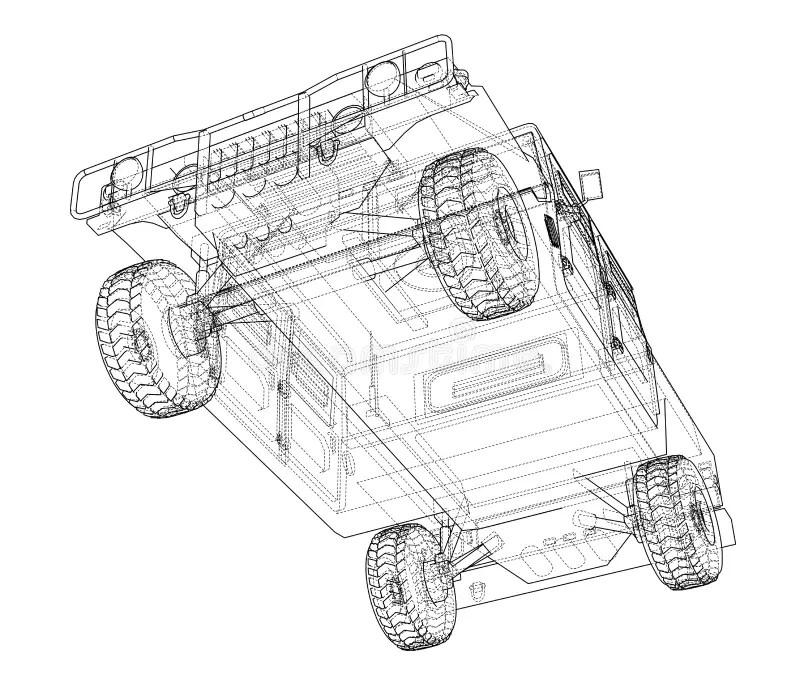 Combat car blueprint stock illustration. Illustration of
