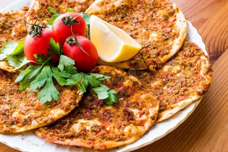 Comida Turca Findik LahmacunMini Pizza Foto de archivo