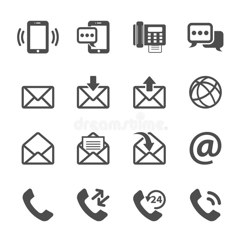 Communication Of Phone And Email Icon Set, Vector Eps10