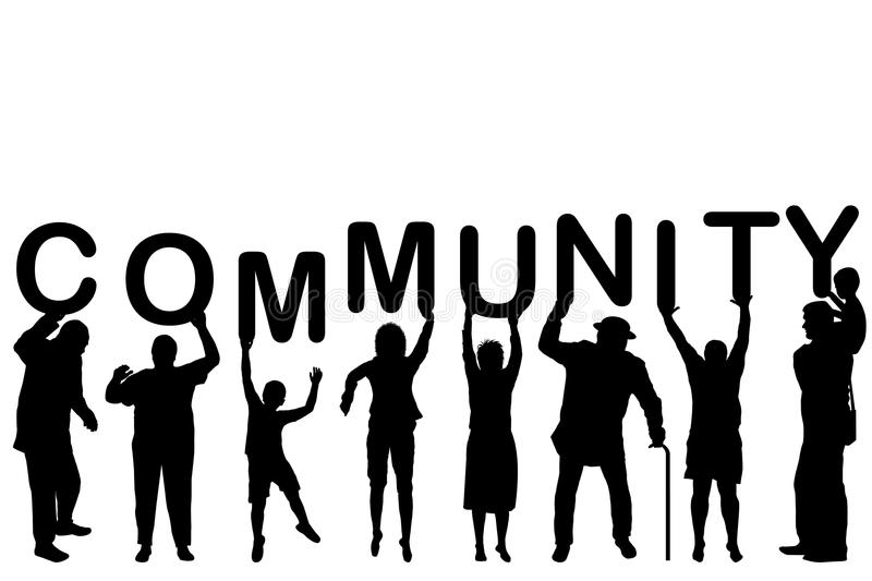 Community Concept With People Silhouettes Stock Vector