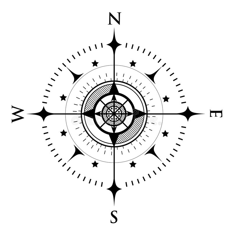 Compass Dial on White stock illustration. Image of trace