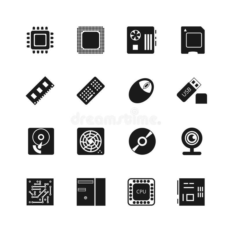 Computer Chips Vector Icons Set Stock Vector