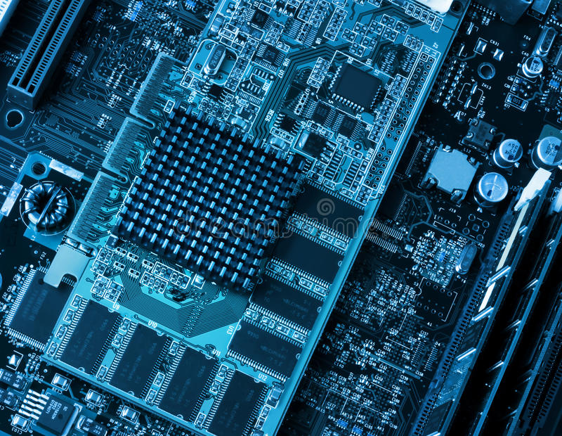 Computer Circuit Board And Processors Royalty Free Stock