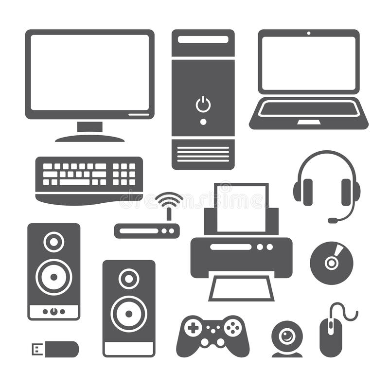 Computer devices icons stock vector. Image of symbols
