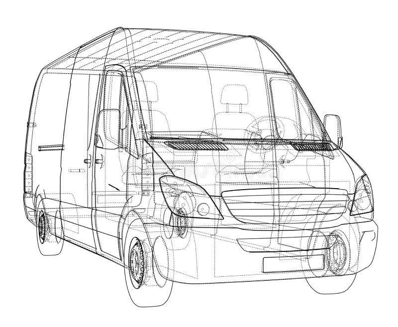 Wireframe Design Of Van Car Stock Illustration