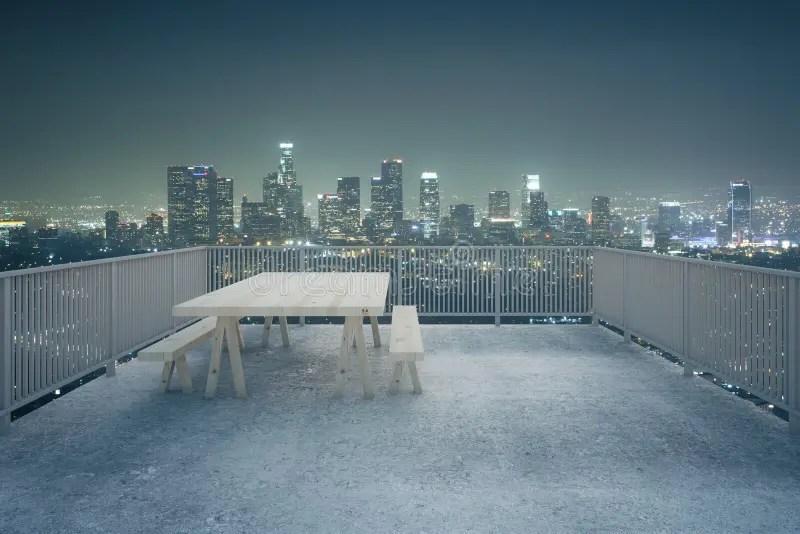 Concrete Balcony Night City View Stock Illustration