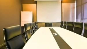 meeting conference 3d presentation business office boardroom backdrope lighting orange team professional modern corporate table rendering leadership