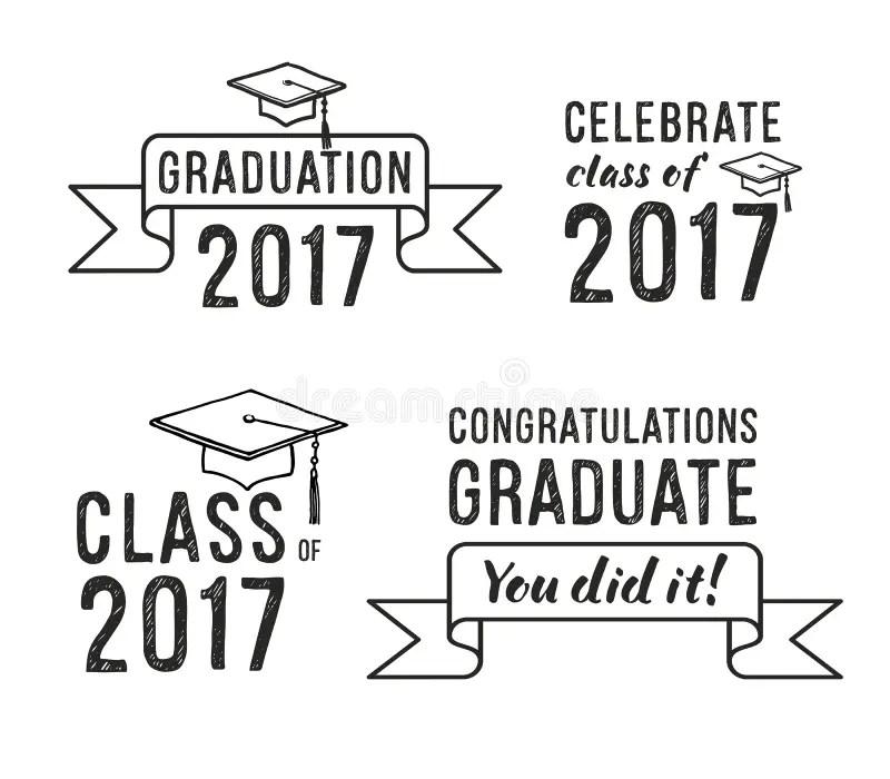 Congratulations Graduate 2017, Graduation Set Stock Vector