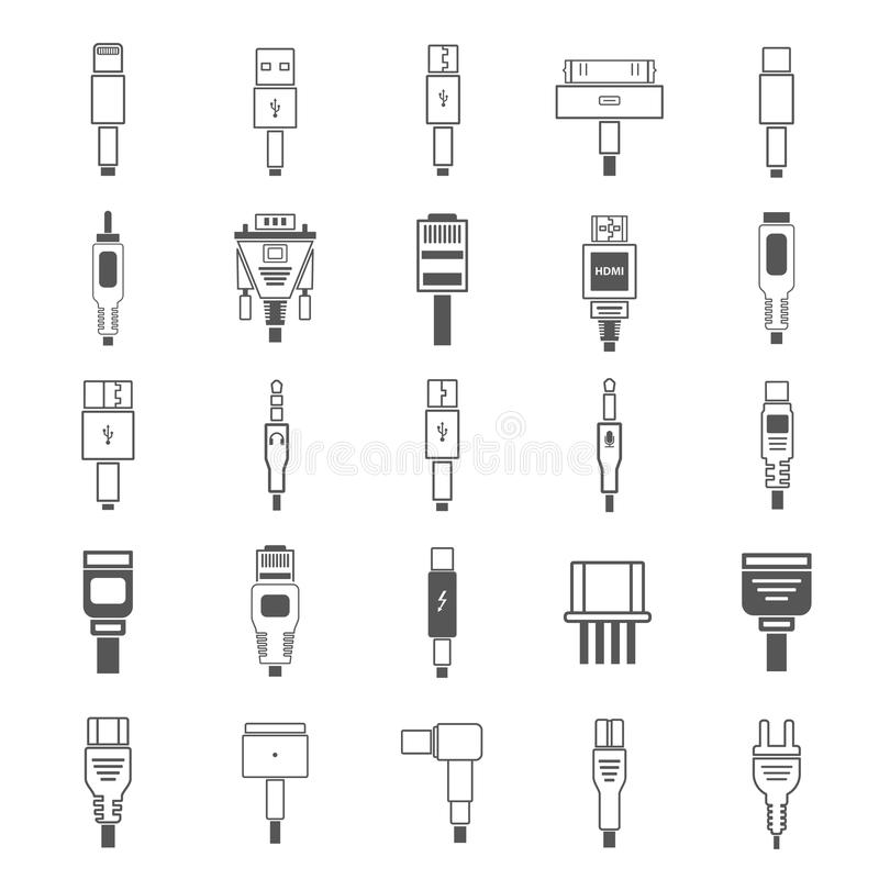 Plug Connector For Charging Electric Vehicle. Stock Vector