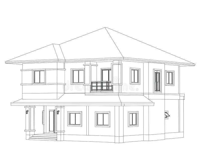 Construction Home Drawing stock illustration. Illustration
