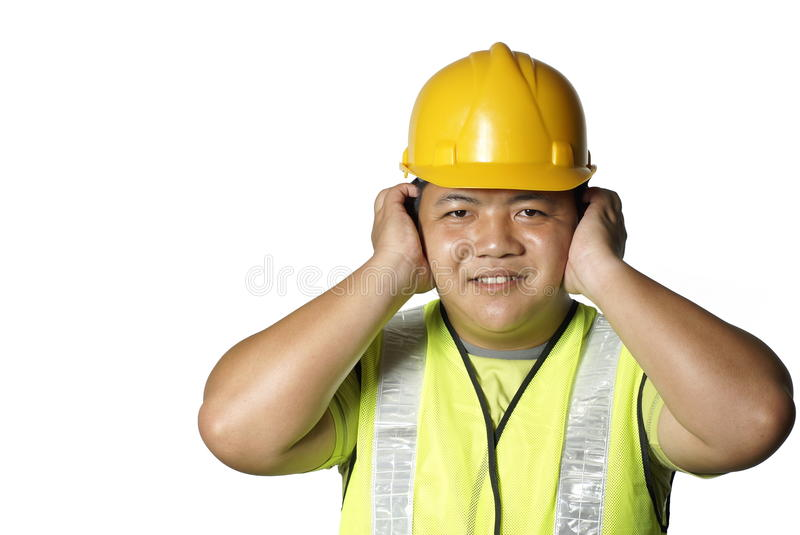 Construction Worker Cover Ears Stock Image  Image 9896613