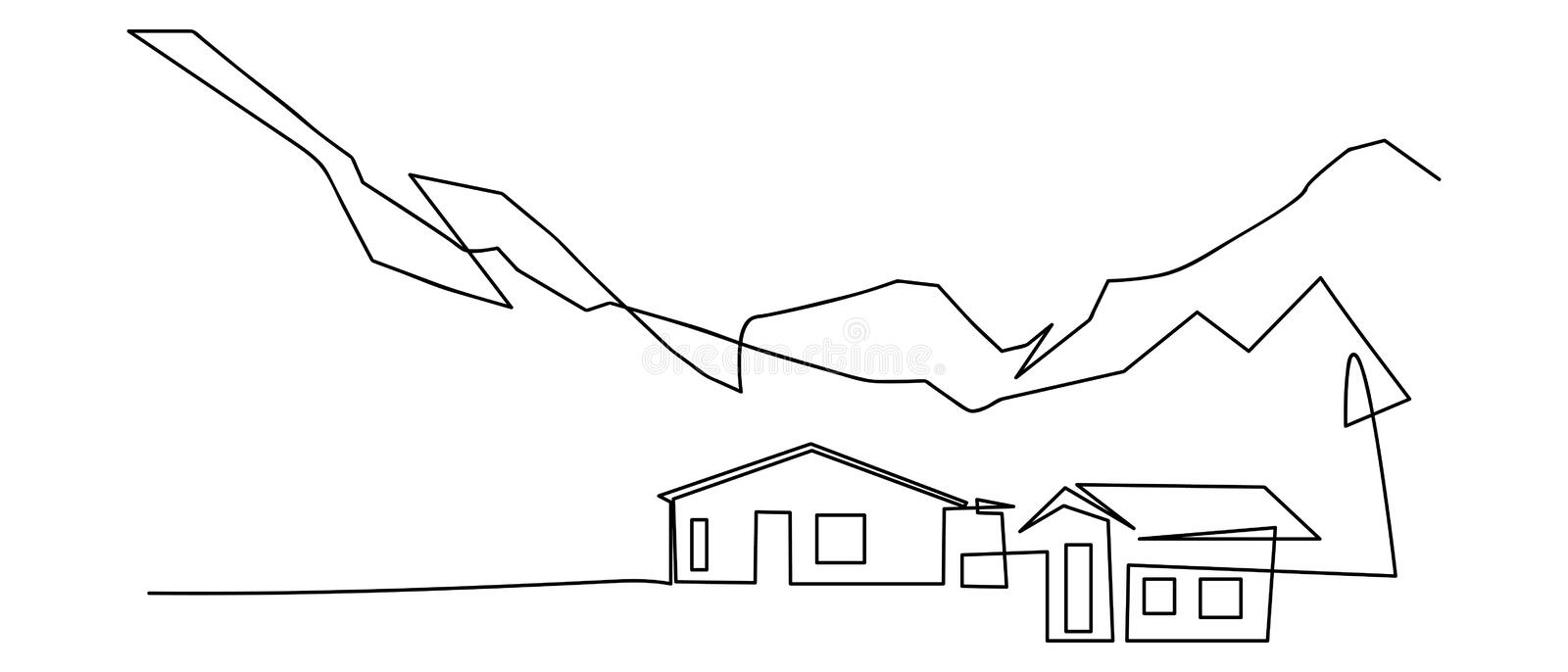 Drawing House Outline Stock Illustrations