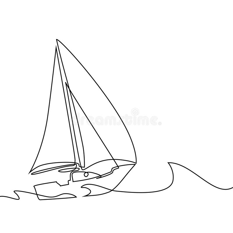 Continuous Line Drawing Of Sailboat Stock Vector