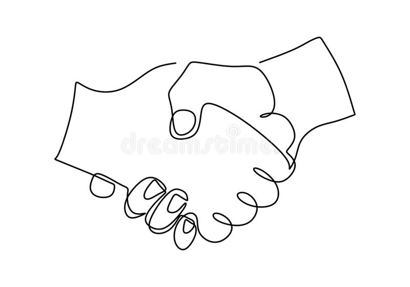 Continuous Line Drawing Handshake Stock Illustrations