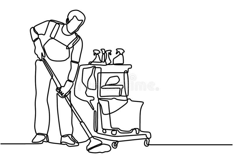 Man cleaning the floor stock illustration. Illustration of