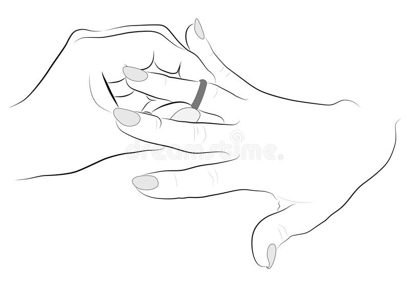 Contour Drawing Hands, Puts A Ring On Finger Girl Stock