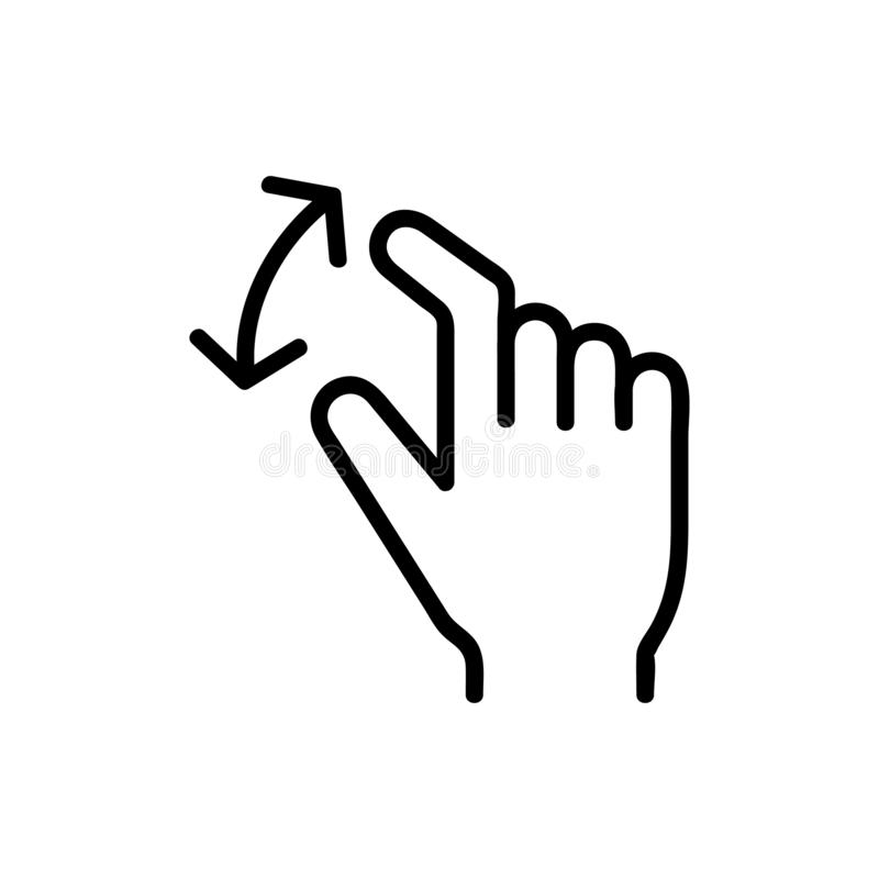 Control On The Touchscreen Icon Vector. Isolated Contour