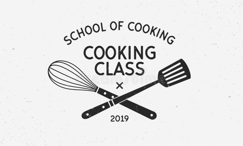 Cooking Class Vintage Logo With Grunge Texture. School Of