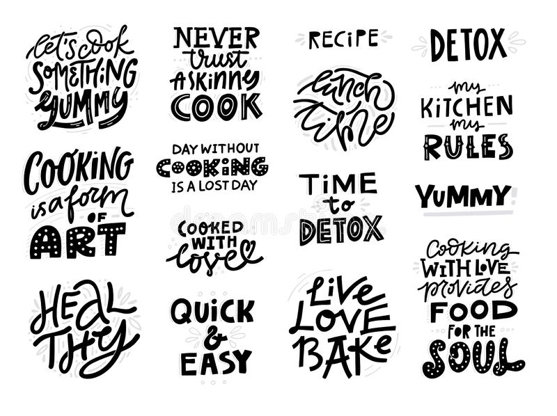Kitchen Hand Written Lettering Quotes. Stock Vector