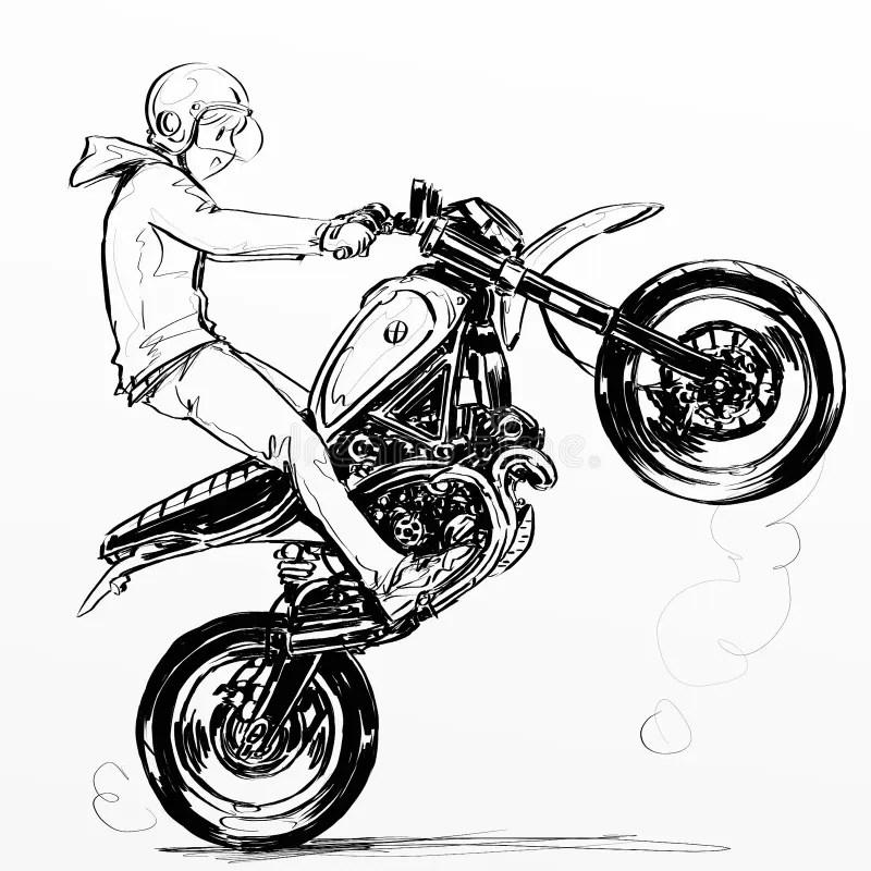Cool Boy Riding Extreme Motorcycle Stock Illustration