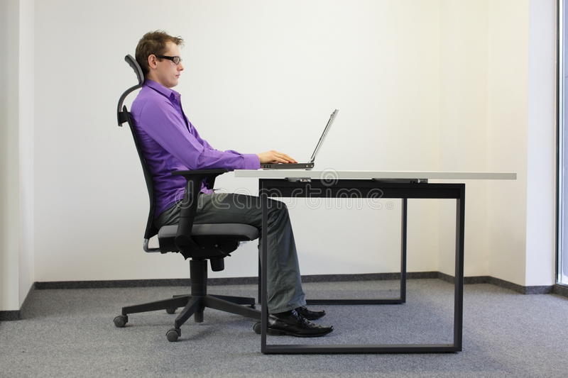 perfect posture in chair vernon panton correct sitting position at laptop stock images - image: 31445054